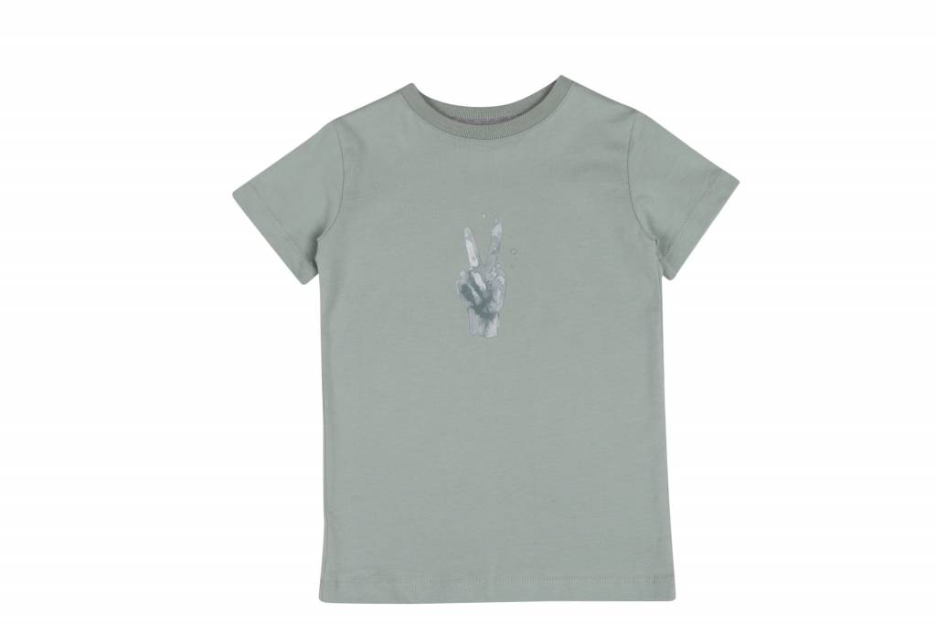 One we Like T-shirt peace print jadeite green