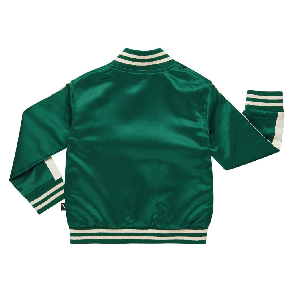 CarlijnQ Frog bomber jacket embrodery satin green