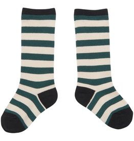 CarlijnQ Knee socks stripe green/off white