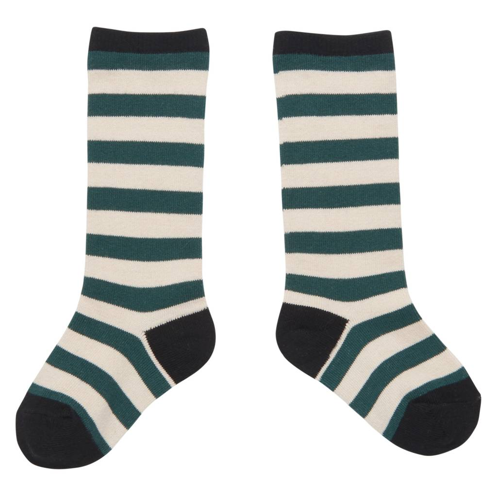 CarlijnQ Knee socks stripe green/off white