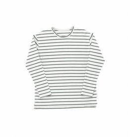 Tiny Cottons Small stripes relaxed tee light grey/dark green
