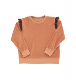Tiny Cottons Frills towel sweatshirt terracotta