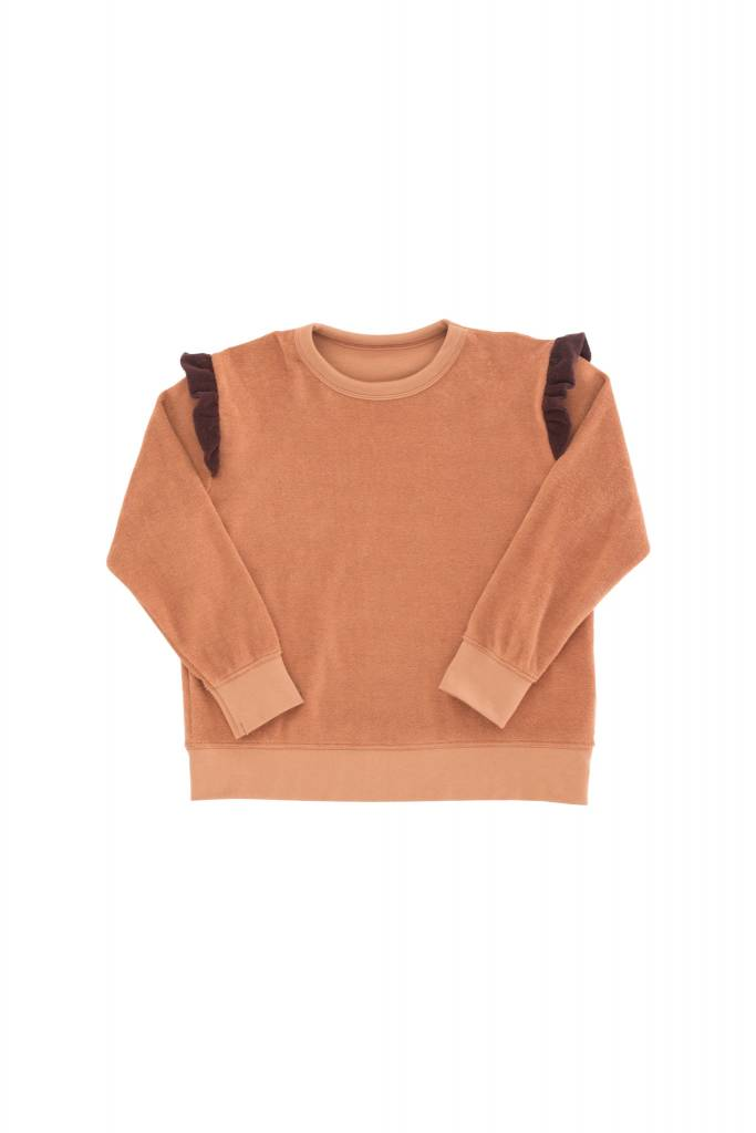 Tiny Cottons Frills towel sweatshirt terracotta