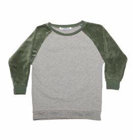 Mingo Velvet sweater grey melange/ duck green