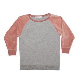 Mingo Velvet sweater grey melange/ raspberry