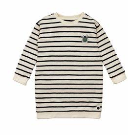 Sproet & Sprout sweat dress beetle embroidery black & milk stripe