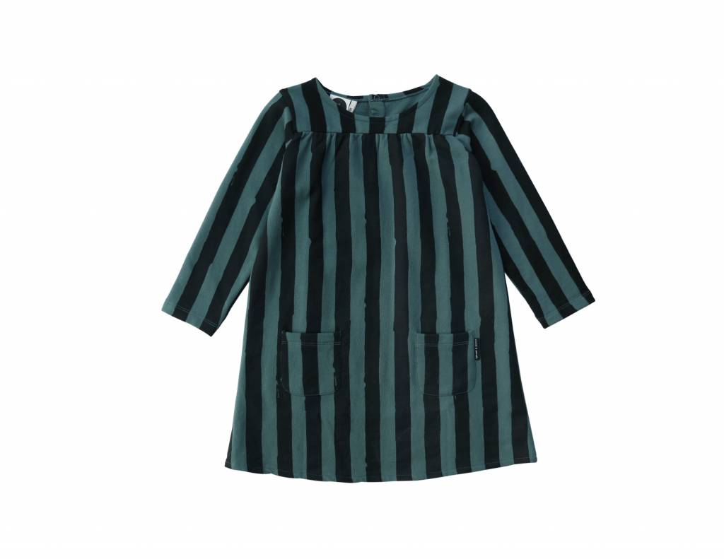 Sproet & Sprout Sweat dress black & forest green stripe