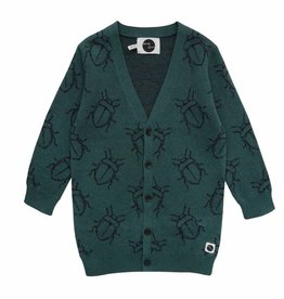 Sproet & Sprout Cardigan bugs allover dark forrest green