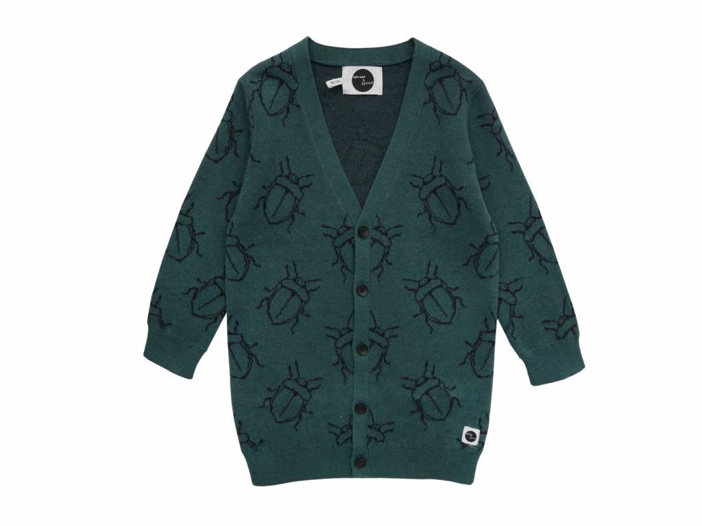 Sproet & Sprout Cardigan bugs allover dark forrest green