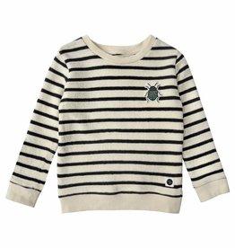 Sproet & Sprout Sweater beetle badge milk & black stripe