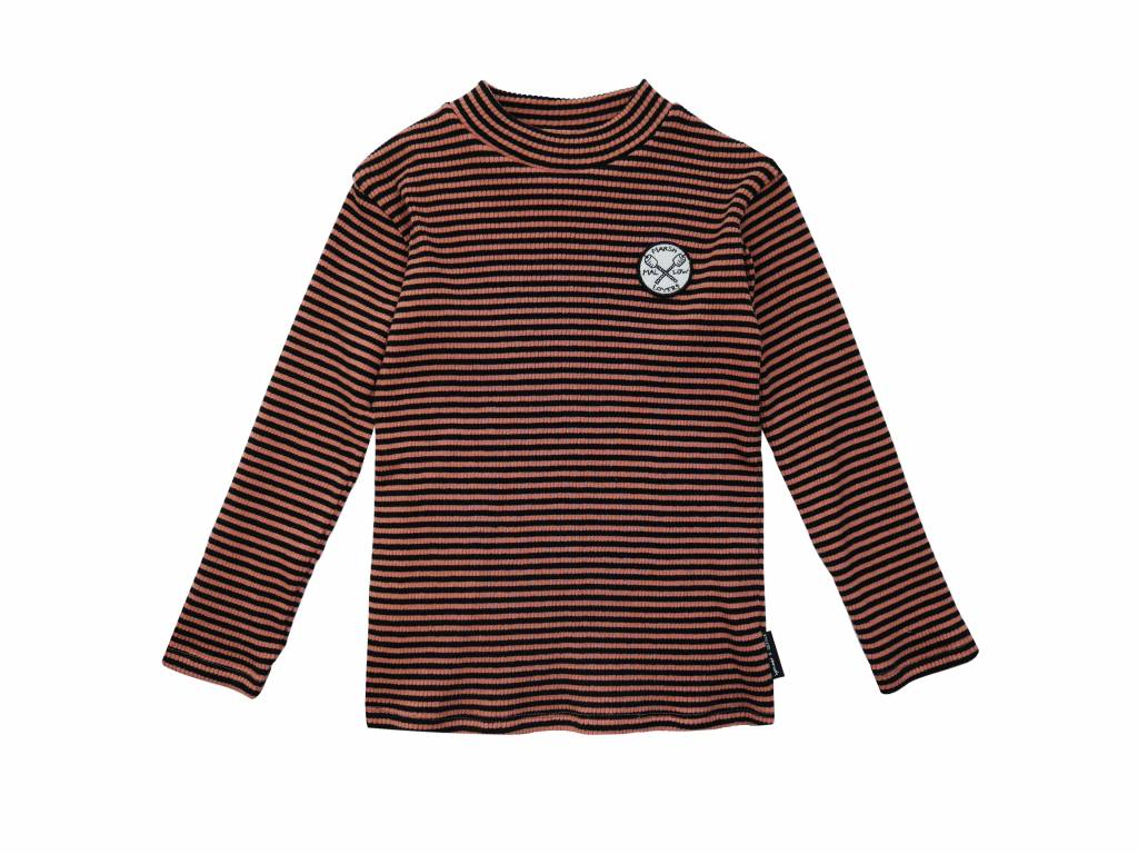 Sproet & Sprout T-shirt turtle neck marshmallow badge black & cedar stripe