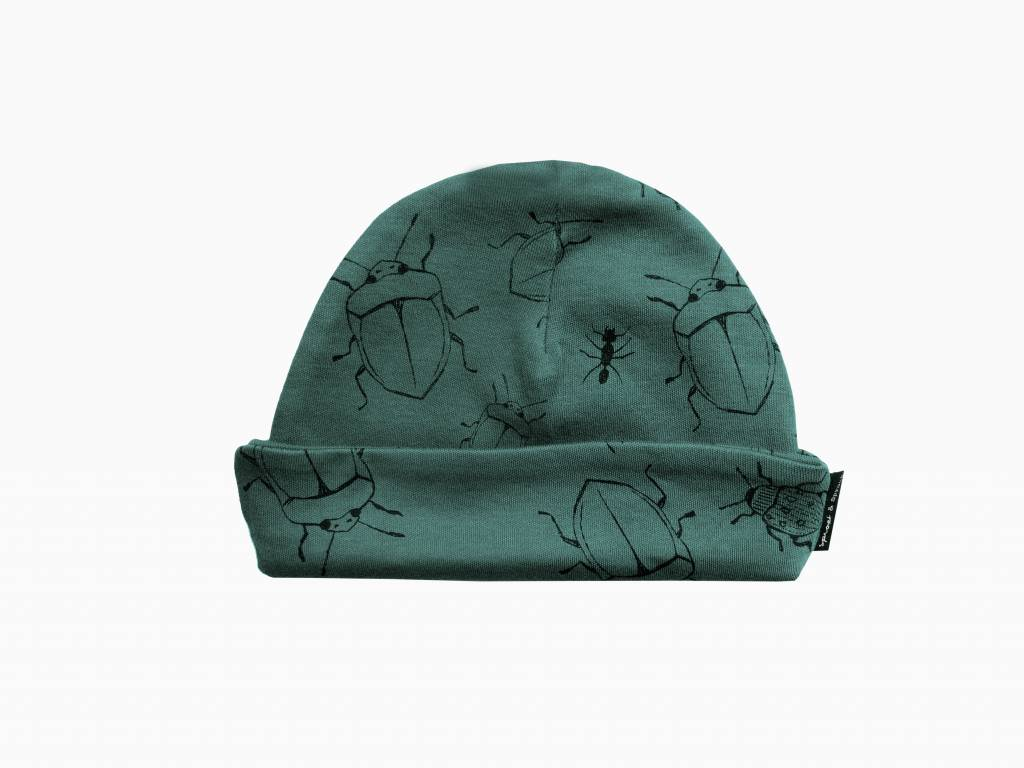 Sproet & Sprout Baby beanie bugs allover forrest green