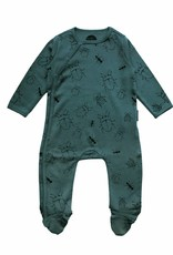 Sproet & Sprout Newborn onesie bugs allover forrest green