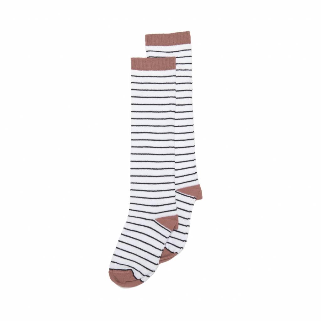 Mingo Knee socks b/w stripe raspberry