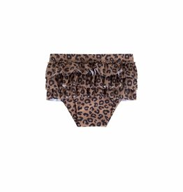 Maed for mini Brown Leopard Ruffle swim shorts