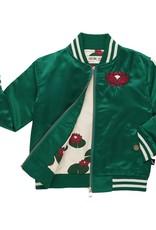 CarlijnQ Frog bomber jacket embrodery satin green