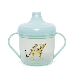 Petit Monkey Training cup leopard aqua