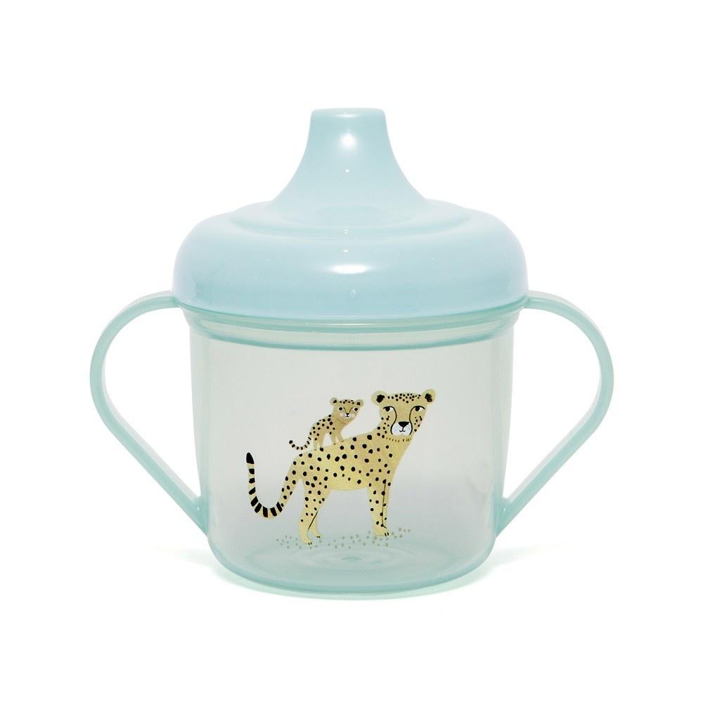 Petit Monkey Training cup leopard aqua