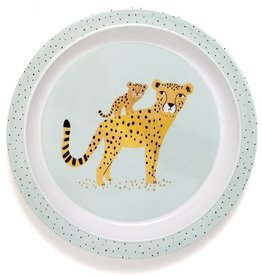 Petit Monkey Melamine plate leopard auqua