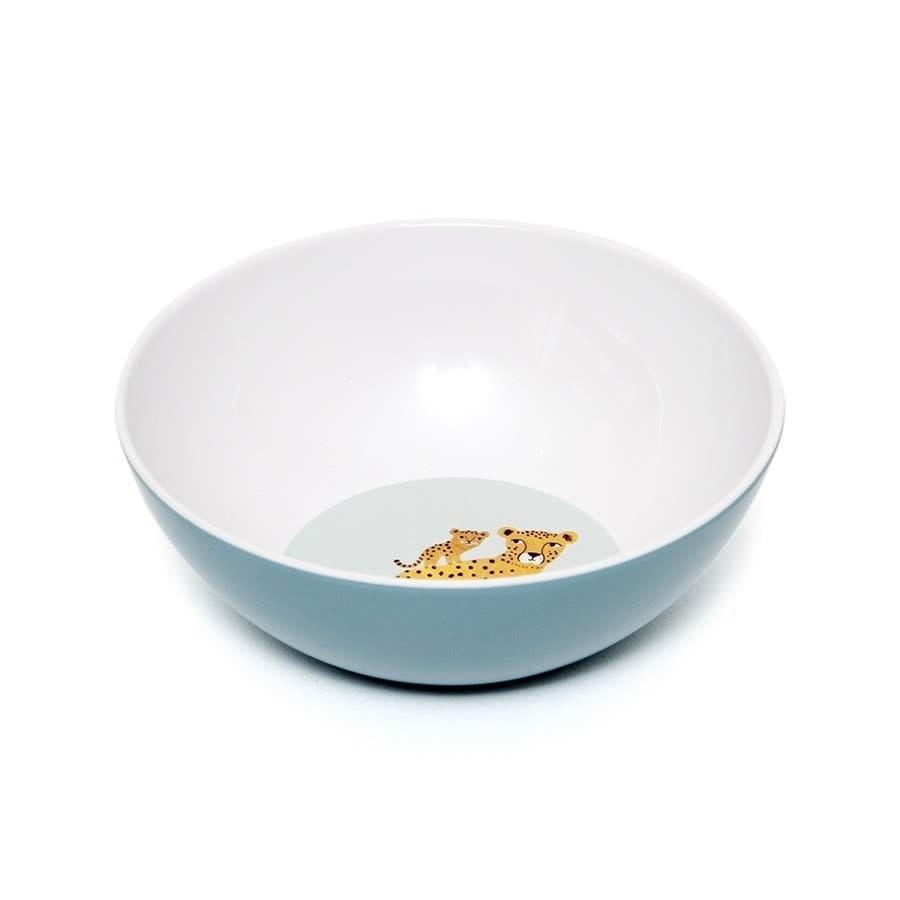 Petit Monkey Melamine bowl leopard denim