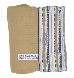 Lodger Swaddler print/solid 2 pack Honey/stripe