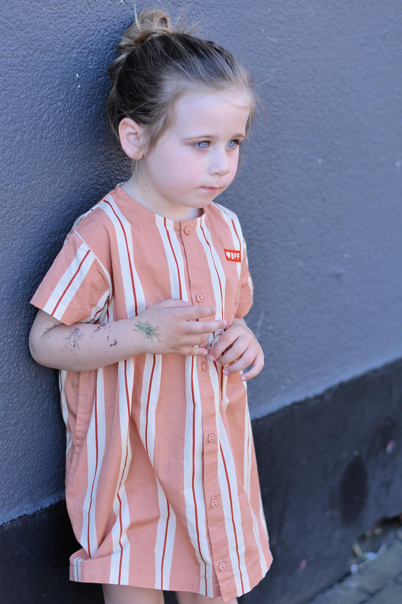 Tiny Cottons Retro stripes ss dress terracotta/cream
