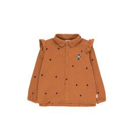 Tiny Cottons Dots Cat shirt brown| aubergine