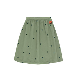 Tiny Cottons Dots sunset long skirt green wood | bottle green