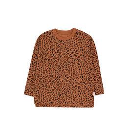 Tiny Cottons Animal print ls tee | brown/dark brown