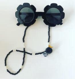 Feest-beest zonnebril zwarte bloem