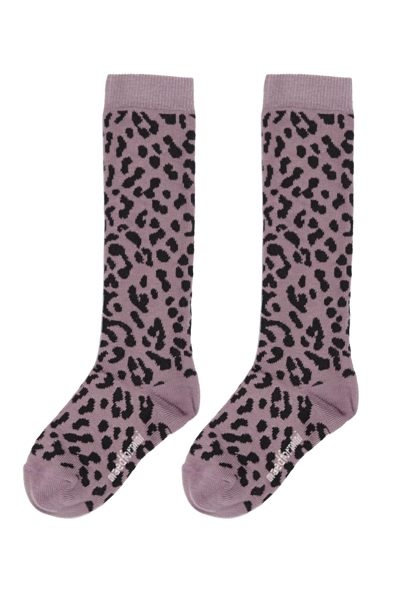 Maed for mini Lilac leopard knee sock