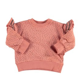 piupiuchick Sweatshirt with frills on shoulder | coral with black dots