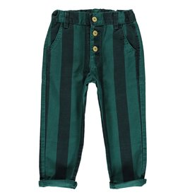 piupiuchick Unisex trousers with buttons emerald & grey striped