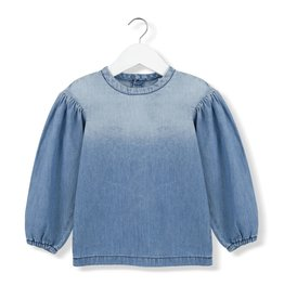 Kids on the moon Denim puff blouse