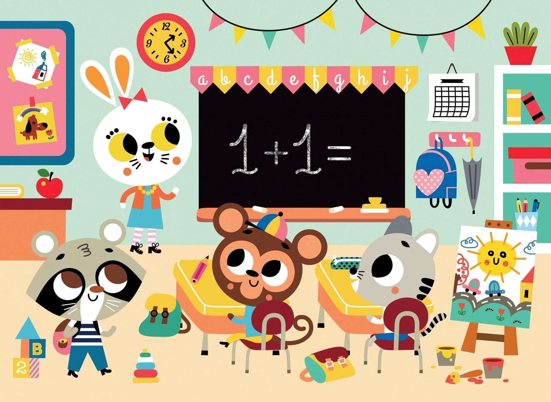 Petit Monkey puzzel at school 24 stukjes