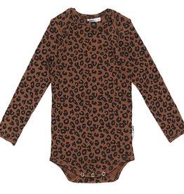 Maed for mini Brown leopard romper