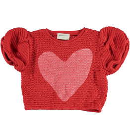piupiuchick Girls t-shirt ballon | red w/ white heart | knitted