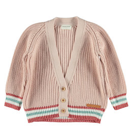 piupiuchick Knitted v-neck jacket | pale pink & lurex striped rib