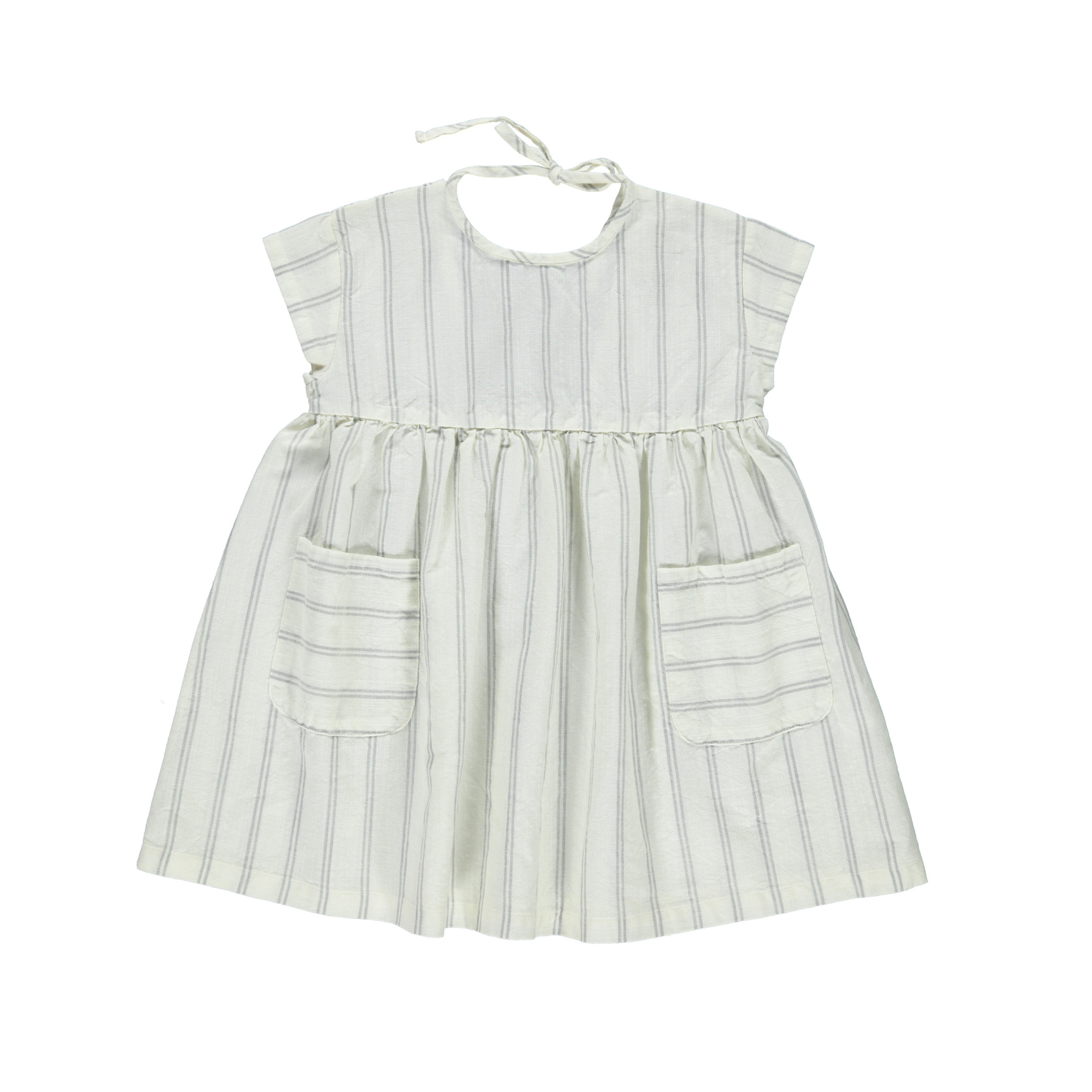 piupiuchick Short dress | white w/ grey stripes
