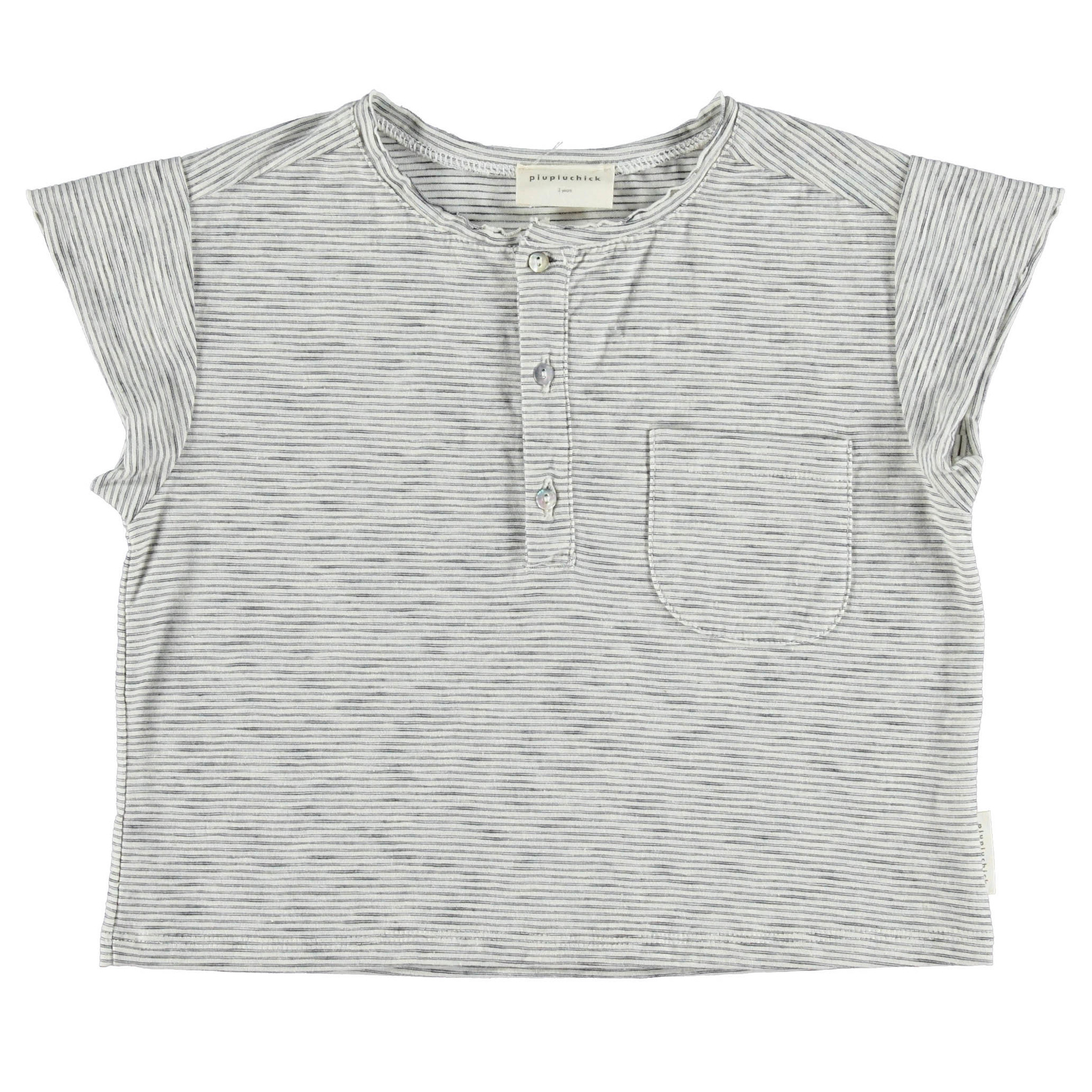 piupiuchick Buttoned t-shirt | off white & grey stripes