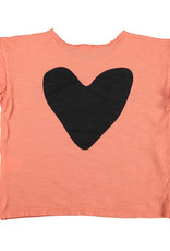 piupiuchick T-shirt   coral w/ black print L'amour