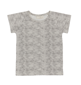 Blossom kids Raglan short sleeve shirt | Dotted Waves - Chocolate brown