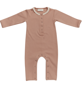 Blossom kids Baby jumpsui with lace| Toffee Blush