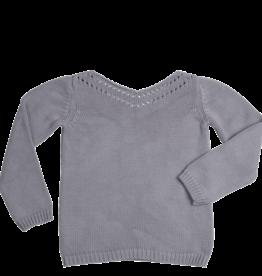 Blossom kids Jumper knitted ajour | Misty grey