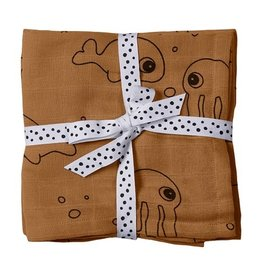 Done by Deer Burp cloth, 2-pack  Sea friends |mustard