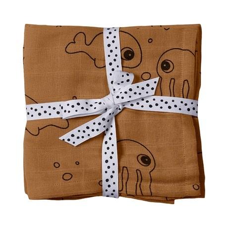 Done by Deer Burp cloth, 2-pack  Sea friends  mustard