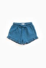 Play-up Denim shorts with decorative ribbon |denim
