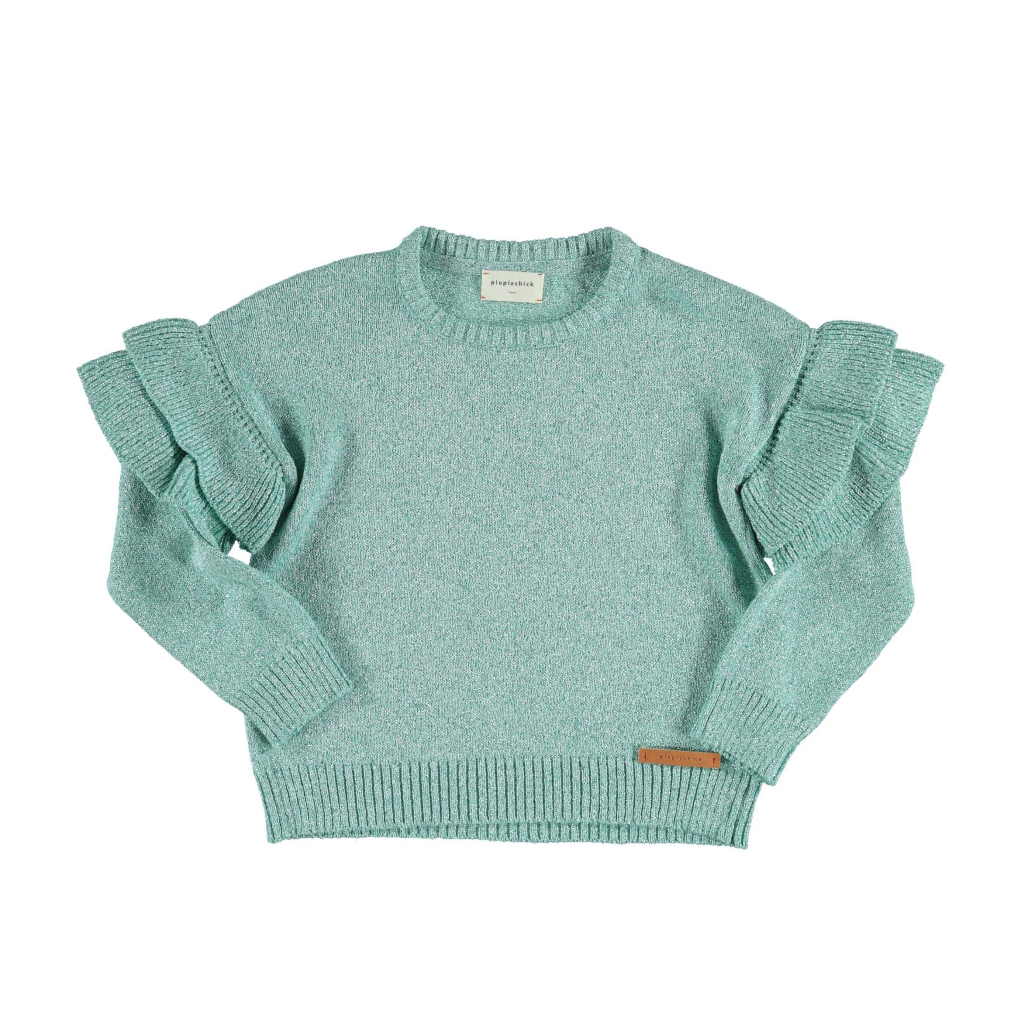 piupiuchick Knitted sweater with frills   greenwater lurex