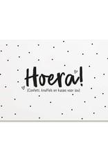 Kaart Hoera (confetti, knuffels en kusjes voor jou)
