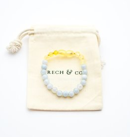 Grech & Co Baltic Amber kinder armband/enkelbandje | aquamarine